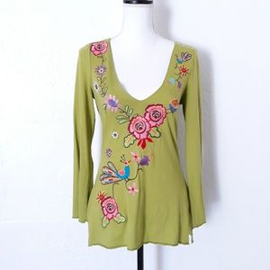 NWOT Ivy Jane Green Embroidered Long Sleeve Top